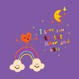 Ik houd van u aan de maan en de rug royalty-vrije illustratie