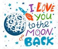 Ik houd van u aan de maan en de rug Hand getrokken typografieaffiche Royalty-vrije Stock Fotografie