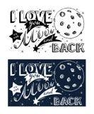 Ik houd van u aan de maan en de rug Hand getrokken van letters voorziend teken Royalty-vrije Stock Foto's