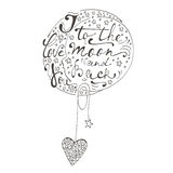 Ik houd van u aan de maan en de rug Romantische kaart met het met de hand geschreven citaat van letters voorzien Stock Foto