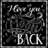 Ik houd van u aan de maan en het achterkrijt van letters voorzien Stock Foto's