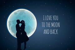 Ik houd van u aan de maan en de rug Leuke positieve minnaarslogan met volle maan en minnaars in hete lucht Gebruik voor wensen royalty-vrije illustratie