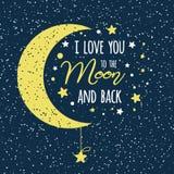 Ik houd van u aan de maan en de rug St van de het citaat geel maan van de Valentijnskaartendag inspirational de hemelhoogtepunt v royalty-vrije illustratie