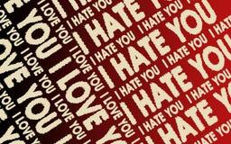 Ik houd van u & haat ik u Stock Afbeelding