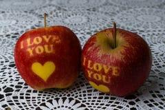 Ik houd van u appel Stock Foto