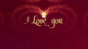 Ik houd van u houd van bekentenis Het de Daghart van Valentine van gouden plons wordt gemaakt die verschijnt Dan verspreidt het h royalty-vrije illustratie