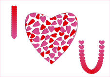 Ik houd van u bericht met rood-roze harten Royalty-vrije Stock Fotografie