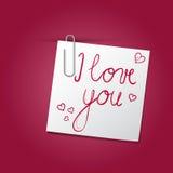 Ik houd van u bericht op klein document met paperclip stock illustratie