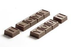 Ik houd van u in chocolade Royalty-vrije Stock Foto