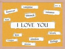 Ik houd van u Corkboard-Word Concept Royalty-vrije Stock Fotografie