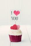 Ik houd van u cupcake stock fotografie