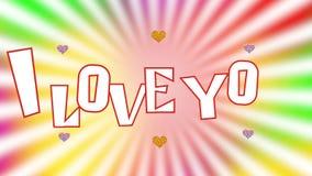 Ik houd van u - de inschrijving is samengesteld uit brieven op een heldere kleurrijke achtergrond stock video