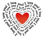 Ik houd van u in de vorm van hart Royalty-vrije Stock Foto