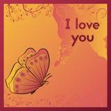Ik houd van u E-kaart voor uw geliefd Prentbriefkaar met vlinder royalty-vrije illustratie