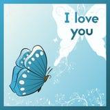 Ik houd van u E kaart voor uw geliefd Prentbriefkaar met vlinder en installatie Blauwe groetkaart royalty-vrije illustratie