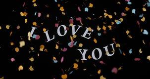 Ik houd van u en rode harten voor de Dag van Heilige Valentine ` s, stock videobeelden