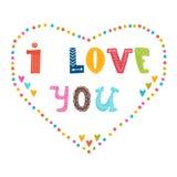 Ik houd van u Hand die leuke groetkaart van letters voorzien stock illustratie