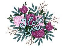 Ik houd van u Hand getrokken druk met het van letters voorzien en boeket van rozen Stock Foto