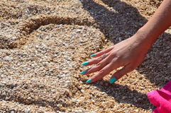 Ik houd van u (Hart in strand) Royalty-vrije Stock Fotografie