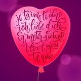 Ik houd van u in het Engels, Rus, het Spaans, het Italiaans, het Frans en het Duits Vectorillustratie van hart-vormig Gebruikt vo vector illustratie