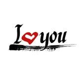 Ik houd van u het van letters voorzien vector met rood hart Royalty-vrije Stock Foto