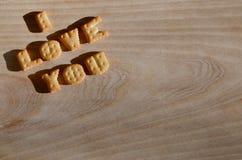Ik houd van u Hoop van eetbare brieven Stock Foto's