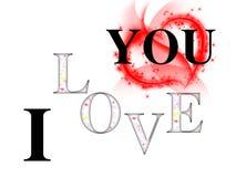 Ik houd van u inschrijving met kleurenharten en wit rood hart als achtergrond en grote Stock Afbeelding