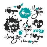 Ik houd van u Kalligrafie het Van letters voorzien Reeks Royalty-vrije Stock Fotografie