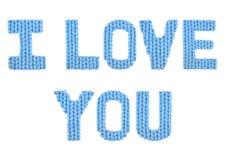 Ik houd van u Kleurenblauw Stock Afbeelding