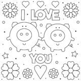Ik houd van u Kleurende pagina Zwart-witte vectorillustratie vector illustratie