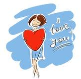Ik houd van u meisje vector illustratie