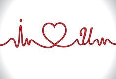 Ik houd van u met elektro cardiogramvorm Stock Foto
