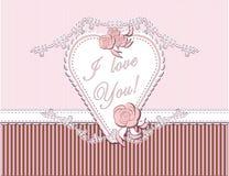 Ik houd van u met hart en rozen Stock Fotografie