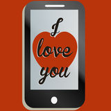 Ik houd van u mobiel telefoonbericht Stock Afbeelding