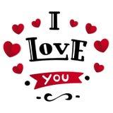 Ik houd van u Mooie van letters voorziende tekst Royalty-vrije Stock Foto