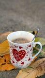 Ik houd van u, ochtendkoffie Stock Afbeeldingen