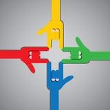 Ik houd van u ontwerp vlak handpictogram met vier mensen het gesturing Stock Foto's