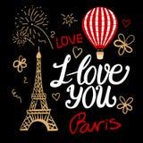 Ik houd van u op een uitstekende Parijse stijlmanier De vectortoren van Eiffel van illustratieselementen, luchtballon en het van  Stock Foto's