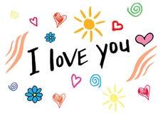Ik houd van u overhandig het van letters voorzien, met de hand gemaakte kalligrafie Hand getrokken krabbels Stock Fotografie