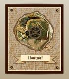 Ik houd van u Prentbriefkaar met bloem Stock Fotografie