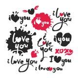 Ik houd van u Rode en Zwarte Kalligrafie het Van letters voorzien Reeks Stock Fotografie
