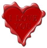 Ik houd van u - rode wasverbinding Stock Fotografie