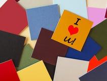 Ik houd van u - voor verhoudingen of bureau Romaans teken! stock afbeelding