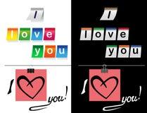 Ik houd van u stickers in zwart-wit Royalty-vrije Stock Foto's