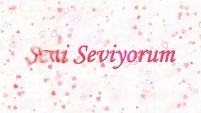 Ik houd van u tekst in de Turkse draaien van Seni Seviyorum aan stof van linkerzijde op witte achtergrond Royalty-vrije Stock Foto
