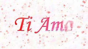 Ik houd van u tekst in het Italiaans de draaien van Ti Amo aan stof van recht op witte achtergrond Royalty-vrije Stock Fotografie