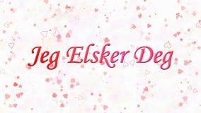 Ik houd van u tekst in Noorse Jeg Elsker Gr. op witte achtergrond Stock Foto