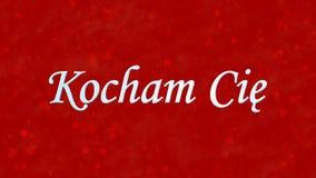 Ik houd van u tekst in Pools Kocham-Cie op rode achtergrond Royalty-vrije Stock Fotografie