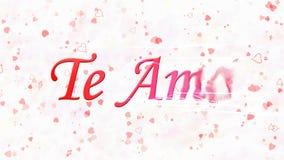 Ik houd van u tekst in Portugese en Spaanse Te Amo-draaien aan stof van recht op witte achtergrond Royalty-vrije Stock Foto