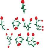 Ik houd van u vector die van rozen wordt gemaakt Royalty-vrije Stock Afbeeldingen